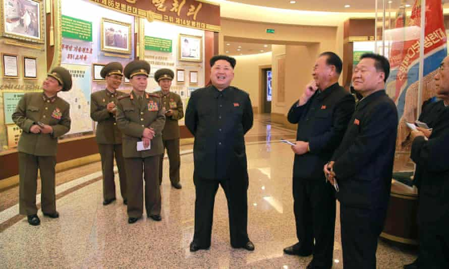 North Korean leader Kim Jong Un visits the refurbished Guards Units Hall at the Victorious Fatherland Liberation War Museum in Sosong. The North has fired a number of missiles into the sea in apparent protest at South Korea/US military drills.