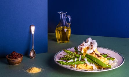 Chez Bruce's Polenta with asparagus, poached egg and olive Chosen by Gary Usher Food and prop styling: Polly Webb Wilson The Dish I Can't Live Without Observer Food Monthly OFM January 2018