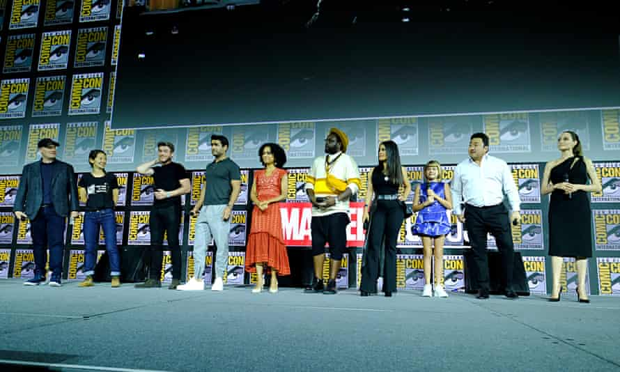 Marvel Studios' Kevin Feige and director Chloe Zhao with the cast of The Eternals: Richard Madden, Kumail Nanjiani, Lauren Ridloff, Brian Tyree Henry, Salma Hayek, Lia McHugh, Don Lee and Angelina Jolie.