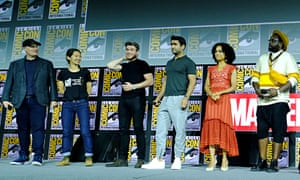 The Eternals star Richard Madden, third from left, with fellow cast members and Marvel chief Kevin Feige last July.