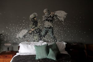 A Banksy mural at one of the bedrooms