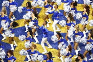 LA Rams cheerleaders, including the first two male cheerleaders in Super Bowl history