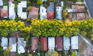 Aerial view of a residential suburb of Melbourne