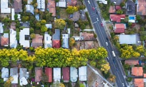 A view from directly above a residential suburb of Melbourne