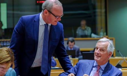 Michel Barnier with Ireland's deputy prime minister, Simon Coveney