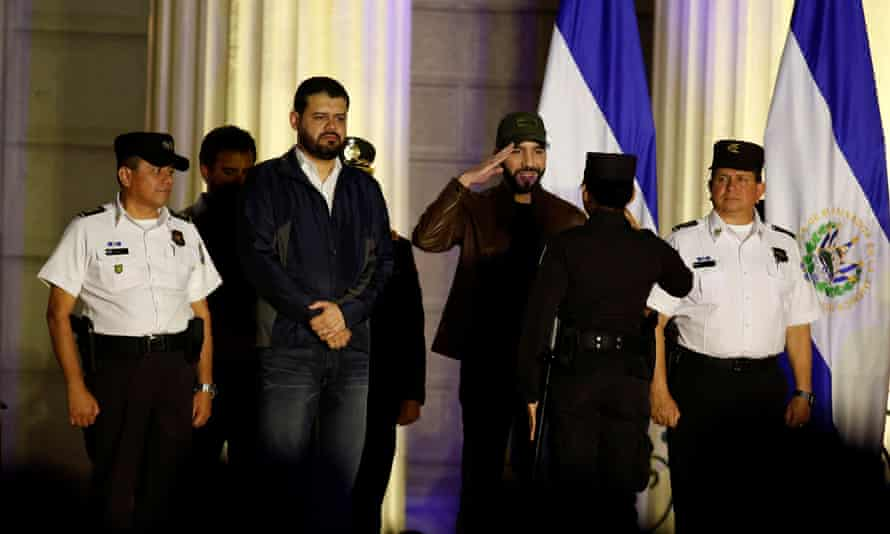 President Nayib Bukele arrives at a graduation ceremony for new police officers in San Salvador on Tuesday.