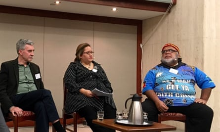 Griffith university professor of history Mark Finnane, human rights lawyer, academic and member of UN permanent forum on Indigenous issues Megan Davis, and Indigenous activist Sam Watson speak at the symposium on the history of the Native Police in Queensland.