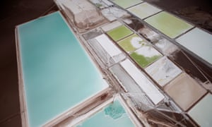 An aerial view of the brine pools and processing areas of the Rockwood lithium plant on the Atacama salt flats.