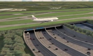 Computer image from Heathrow airport depicting the third runway built over the M25.