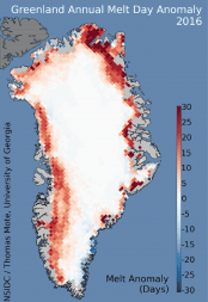 Increase in surface melting from Greenland.