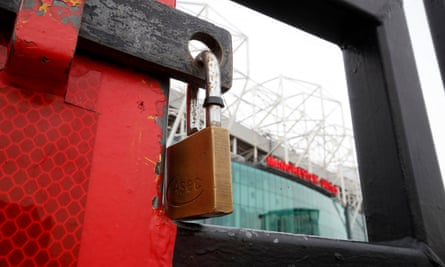 Locked gates at Manchester United's Old Trafford.
