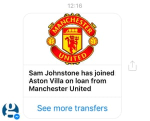 Latest transfers will be messaged to you as and when they happen