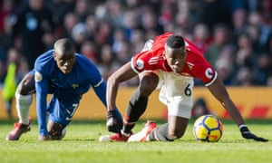 N'Golo Kanté (left) and Paul Pogba in combat for Chelsea and Manchester United. They play on the same side for France, and that seems to work rather well.