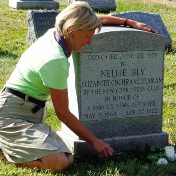 Rosemary J Brown at Nellie Bly's grave in Woodlawn cemetery, a National Historic Landmark in the Bronx, New York