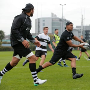 Julian Savea, a World Cup winner with New Zealand, passes during Barbarians training.