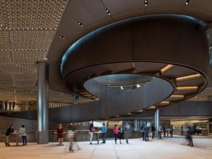 Bloomberg London Headquarters. The sculptural ramp seen from the sixth-floor pantry