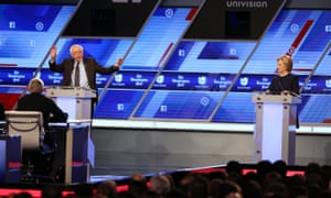 Democratic presidential candidate Senator Bernie Sanders (D-VT) and Democratic presidential candidate Hillary Clinton debate during the Univision News and Washington Post Democratic Presidential Primary Debate at the Miami Dade College's Kendall Campus on March 9, 2016 in Miami, Florida.