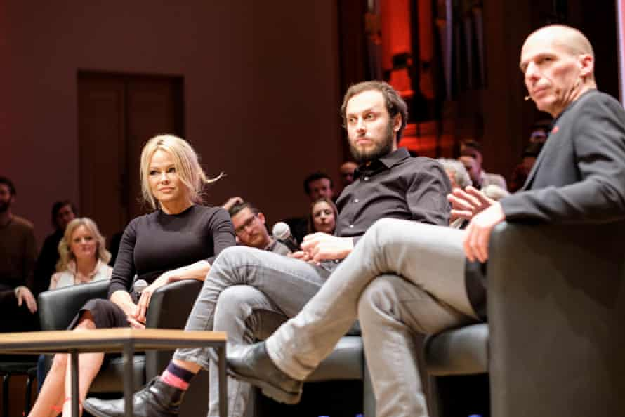 Horvat with Pamela Anderson and Yanis Varoufakis at the launch of the Democracy in Europe Movement 2025 (DiEM25) in Brussels, 25 March 2019.
