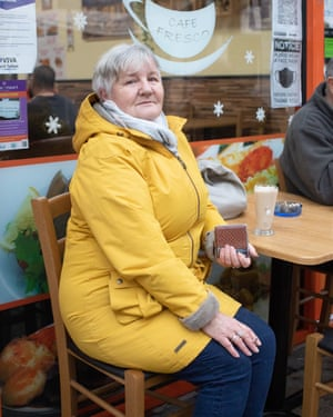 Susan Wilcocks at a cafe in Port Talbot town centre.