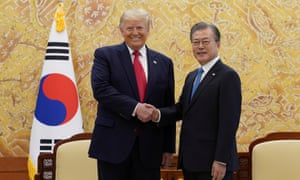 Donald Trump will travel to the demilitarised zone with the South Korean president, Moon Jae-in. The two men held bilateral talks on Sunday.