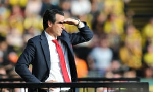 Unai Emery looks on during Arsenal's disastrous second half at Watford.