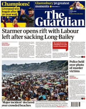 Première page du Guardian, vendredi 26 juin 2020
