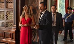 Mustachio ho ho… Jennifer Aniston and Adam Sandler in Murder Mystery