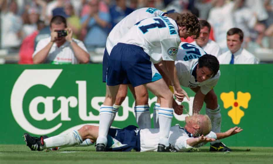 Paul Gascoigne celebrates in the 'Dentist's Chair' with Steve McManaman, Alan Shearer and Jamie Redknapp after scoring England's second goal against Scotland.