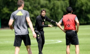 Antonio Conte drills his Chelsea players at their Cobham base ahead of Saturday's FA Cup final