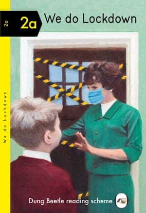 Cover of book showing Mother is mask barring boy from entering taped up front door.