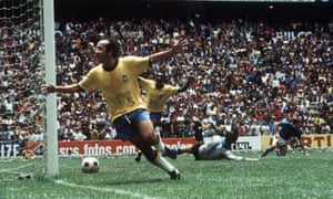 Tostão (left) and Pelé celebrate Brazil's fourth goal in the 1970 World Cup semi-final.