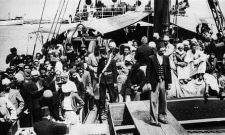 Arab refugees from Haifa disembarking at Port Said, Egypt in 1948.