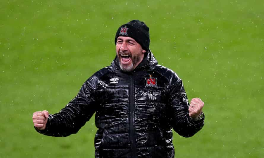 Dundalk's manager, Filippo Giovagnoli, celebrates after his team secured a place in the Europa League group stage this month.