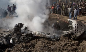 The wreckage of an Indian aircraft after it crashed near Srinagar, the summer capital of Indian-controlled Kashmir.