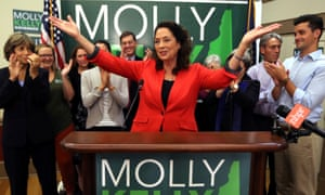 Molly Kelly celebrates victory at her primary night party