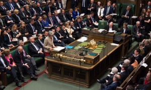 Theresa May speaks during the Brexit debate in the House of Commons
