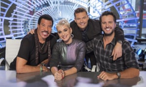 Idol judges Lionel Richie, Katy Perry, and Luke Bryant with host Ryan Seacrest.