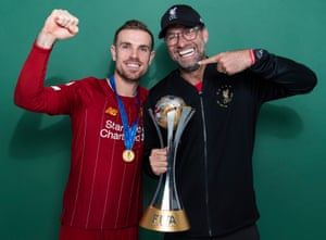 Jordan Henderson and Jürgen Klopp with the Club World Cup last December.