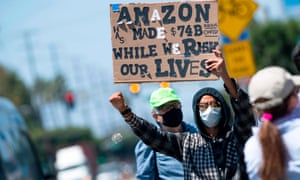 Workers accuse Amazon of failing to provide adequate protections in the workplace on 1 May in Hawthorne, California.