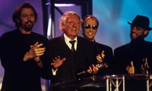 Robert Stigwood speaking at the Brits after the Bee Gees received their outstanding contribution to music award in 1997.