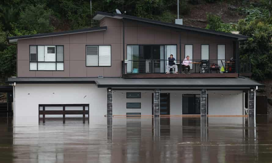 A partially submerged house beside the swollen Hawkesbury River in western Sydney in March