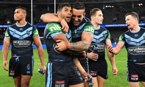 Josh Addo-Carr and Paul Vaughan savour their victory in Perth.