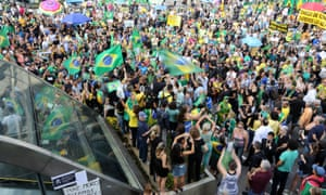 Demonstrators on the streets of São Paulo, Brazil