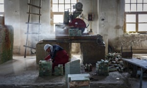 Inside a marble factory
