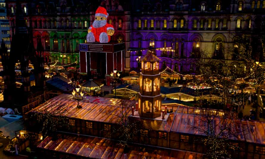 A Christmas market in Manchester