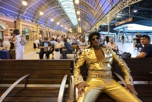 Alfred Vaz, the 'Bollywood Elvis' sports a bespoke jumpsuit from India. Vaz was runner-up in the festival's senior tribute artist competition in 2018