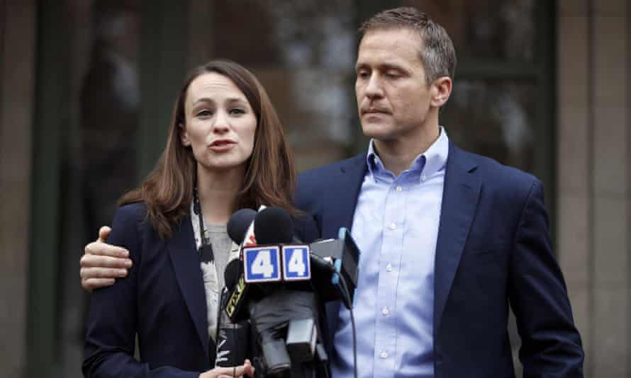 Eric Greitens and his wife Sheena speak to the media in St Louis.