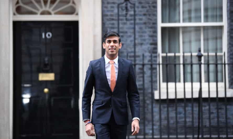 The newly installed chancellor of the exchequer, Rishi Sunak, leaving Downing Street.