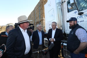 Government drought envoy Barnaby Joyce and Scott Morrison at a drought-hit farm at Royalla near Canberra in September.
