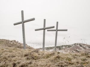 Three crosses outside the village of Luzon.